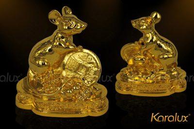 Tượng chuột phong thủy Phát Tài mạ vàng 24k 9