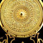 Mặt trống đồng đế hoa sen mạ vàng 5