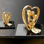 Quà tặng đám cưới: Tượng trái tim Song Hoàn Hỷ Sự mạ vàng 3