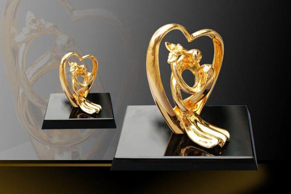 Quà tặng đám cưới: Tượng trái tim Song Hoàn Hỷ Sự mạ vàng 1