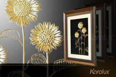 Tranh hoa hướng dương 3 bông được chế tác thủ công từ bạc ta (bạc 9999), bề mặt mạ vàng 24K