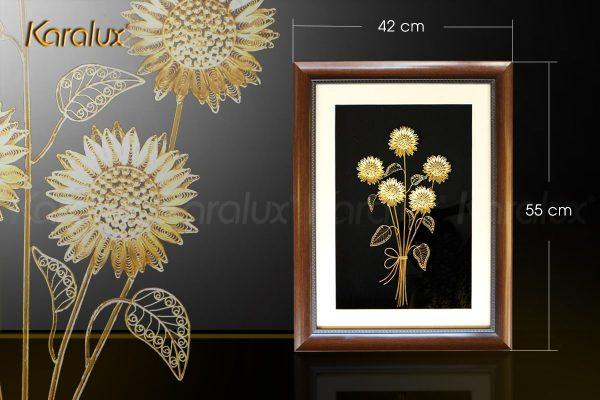 Tranh hoa hướng dương bằng bạc mạ vàng (5 bông) 2