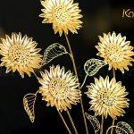 Tranh hoa hướng dương bằng bạc mạ vàng (5 bông) 3