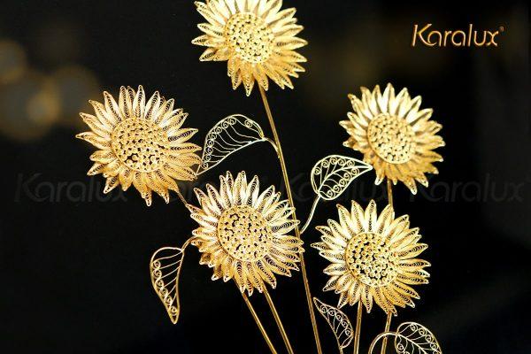 Tranh hoa hướng dương bằng bạc mạ vàng (5 bông) 1