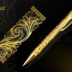 Bút ký bấm mạ vàng Karalux và họa tiết hoa văn theo thiết kế