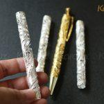 Phần thân bút được chế tác từ các sợi bạc bởi nghệ nhân kim hoàn Karalux