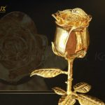 Bông hoa hồng mạ vàng với chụp thủy tinh Karalux 7