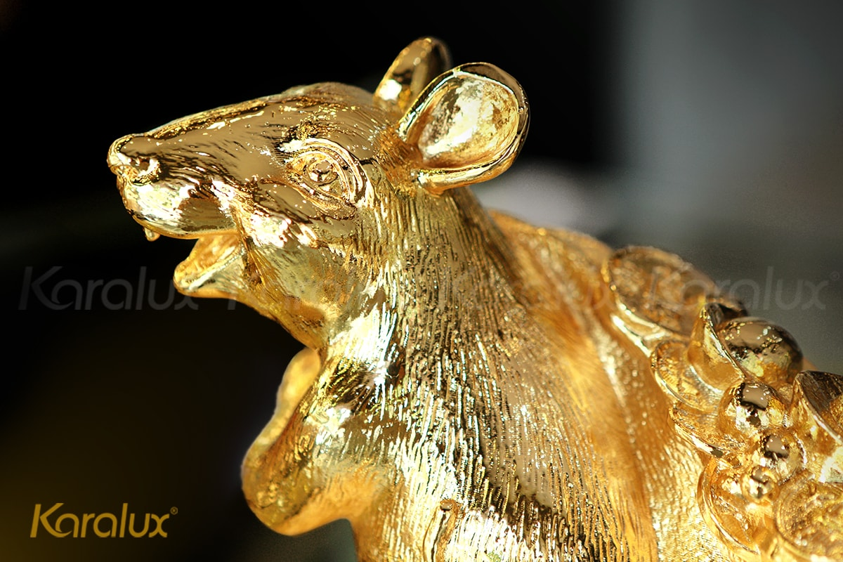 Tượng chuột phong thủy Phát Tài mạ vàng 24k 6