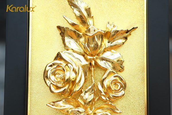 Tranh hoa hồng mạ vàng để bàn 3