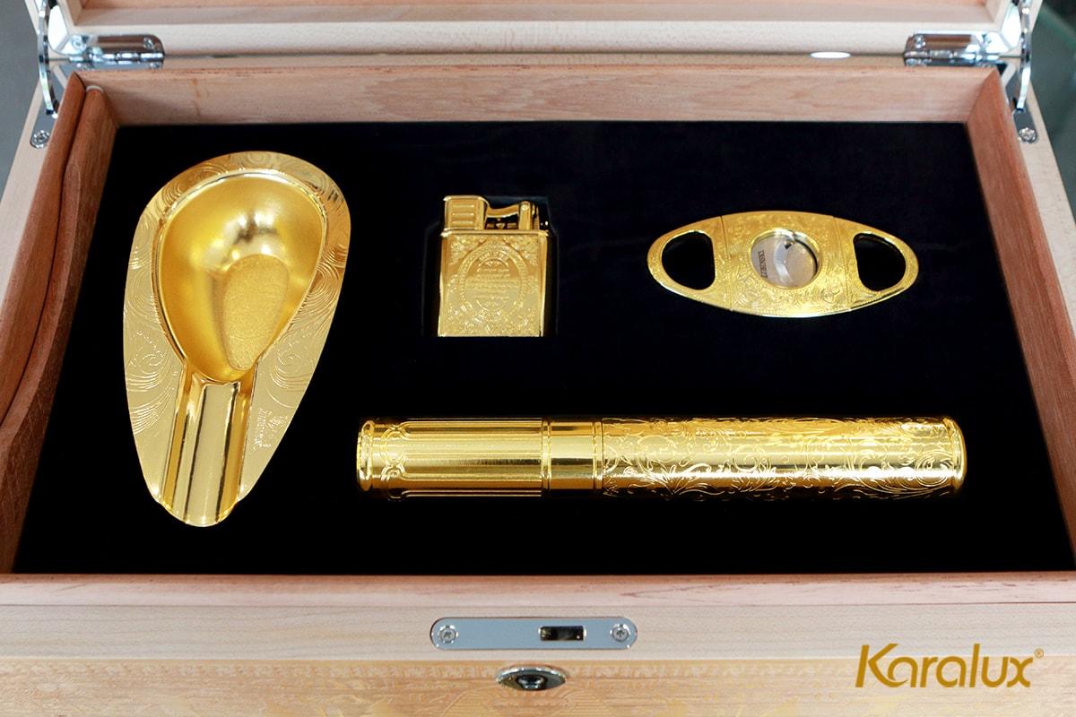 Bộ phụ kiện xì gà được mạ vàng cứng Pre Gold độc quyền từ Karalux