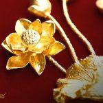 Tranh cá chép hoa sen mạ vàng 7
