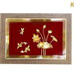 Tranh cá chép hoa sen mạ vàng 9