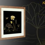 Tranh hoa sen chế tác thủ công từ bạc mạ vàng 24k 4