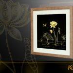 Tranh hoa sen chế tác thủ công từ bạc mạ vàng 24k 6