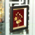 Tranh phù điêu hoa sen mạ vàng 24k 5
