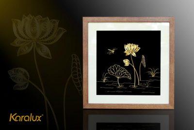 Tranh hoa sen để bàn mạ vàng 24k 14