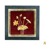 Tranh phù điêu hoa sen mạ vàng 24k 9