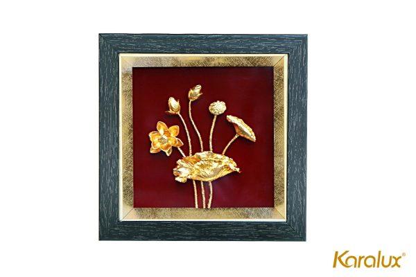 Tranh phù điêu hoa sen mạ vàng 24k 4
