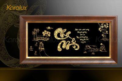 Tranh chữ Thọ chữ Hán mạ vàng 9