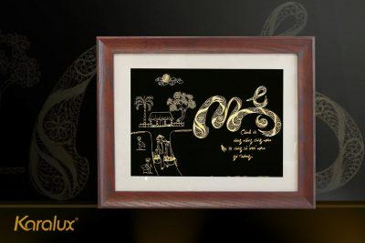 Tranh chữ Thọ chữ Hán mạ vàng 11