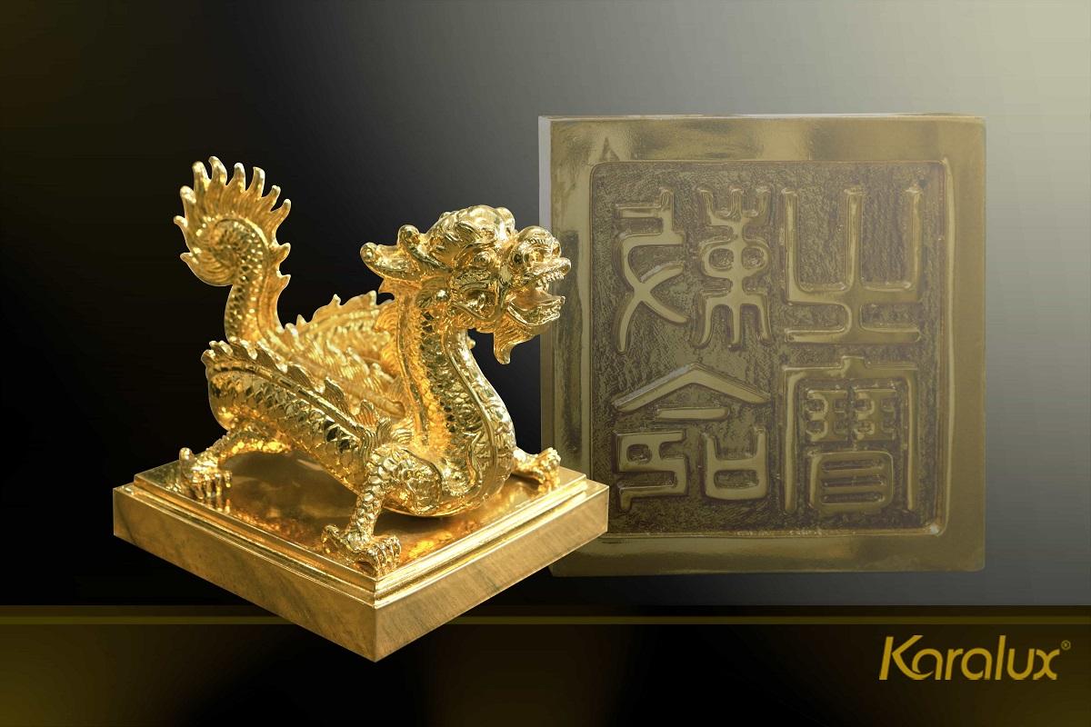 Ấn rồng mạ vàng Sắc mệnh chi bảo 8