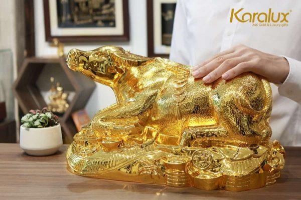 Tượng trâu mạ vàng Kim Ngưu Đại Bảo 3
