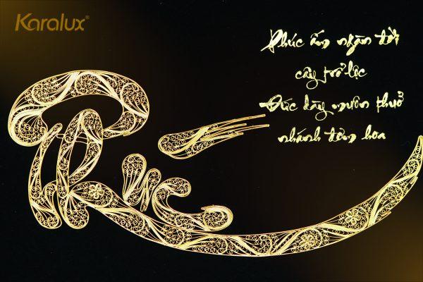 Tranh chữ Phúc mạ vàng 2