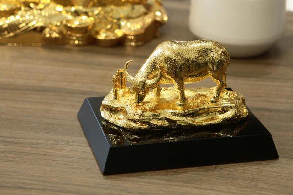 Tượng trâu mạ vàng An Lạc 3