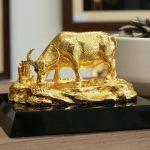 Tượng trâu mạ vàng An Lạc 4