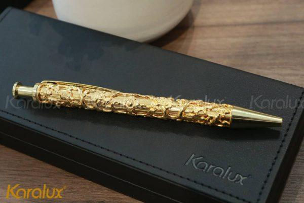 Bút ký mạ vàng cành lá hóa long 3