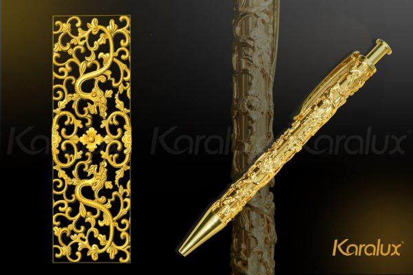 Bút ký mạ vàng cành lá hóa long 1