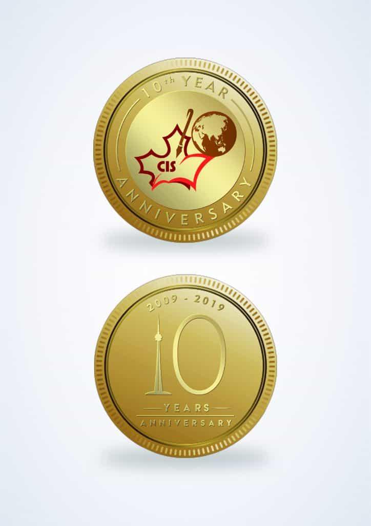 Đồng xu mạ vàng làm quà tặng kỷ niệm 10 năm thành lập trường quốc tế CIS 1