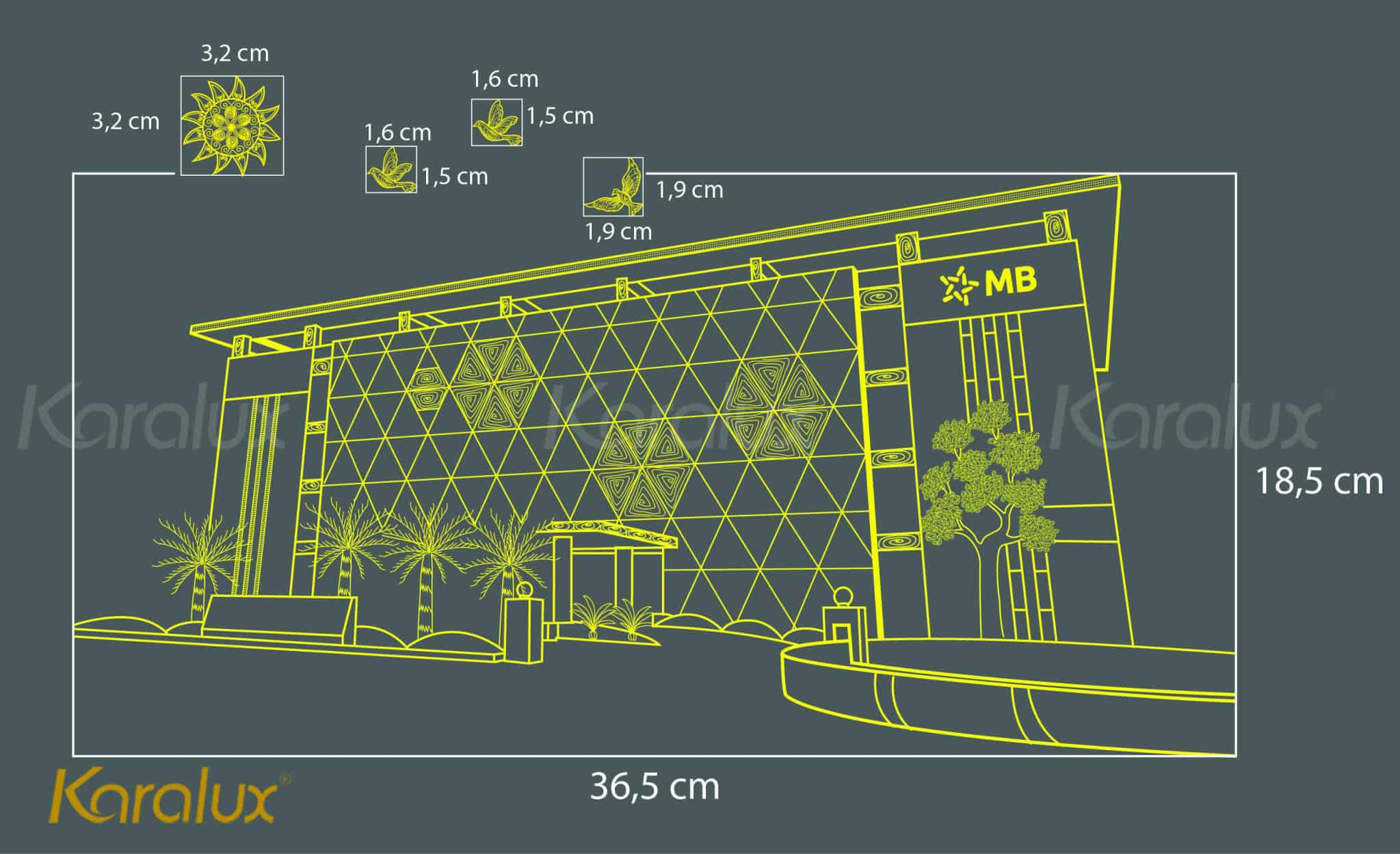 Bản thiết kế demo tranh tòa nhà MBBank mạ vàng
